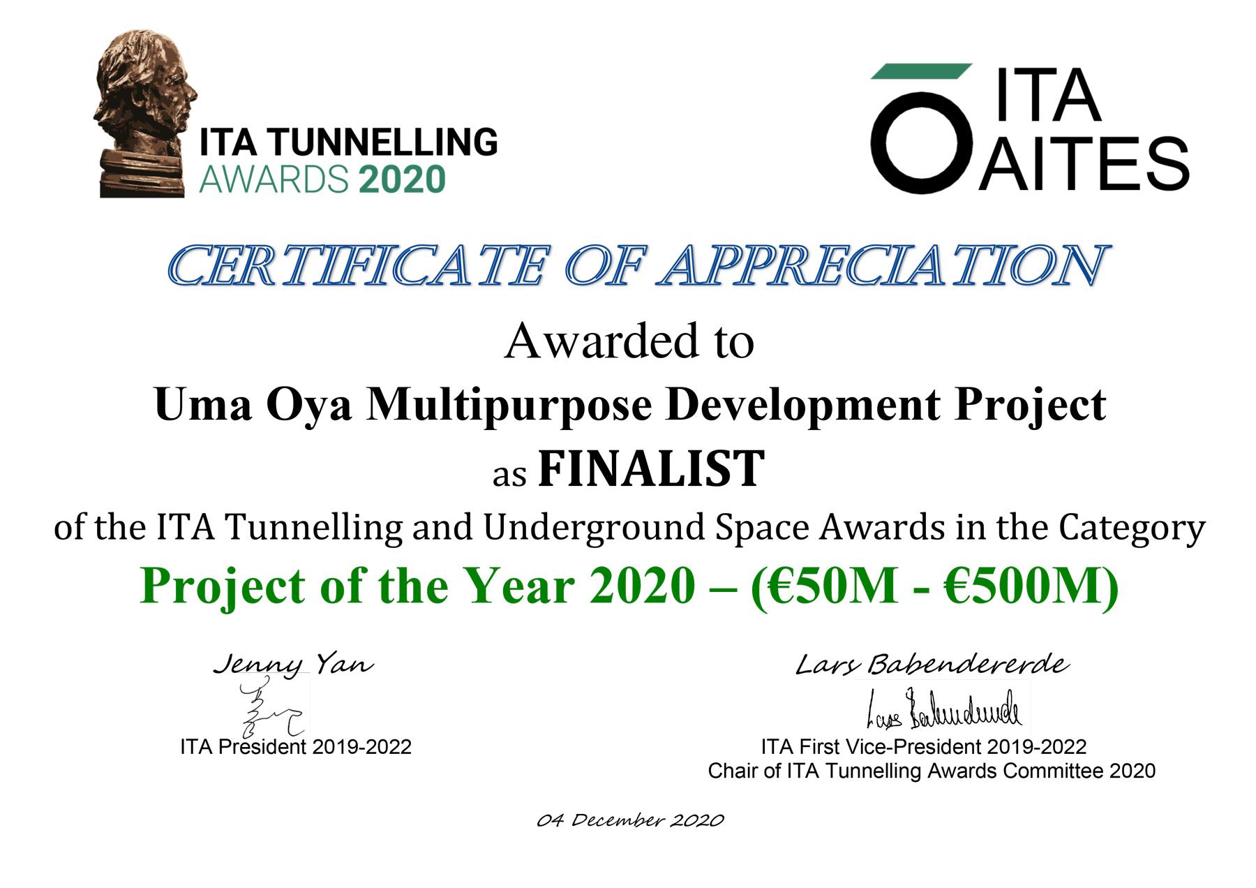 پروژه چندمنظوره اومااویا در بین چهار پروژه منتخب تونلسازی جهان در سال 2020 قرار گرفت